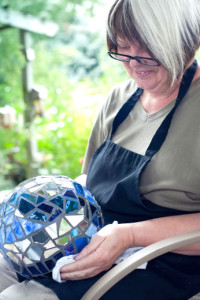 Grandma Janey-lovingly makes Garden Gazing balls to raise money for Kids with Cancer